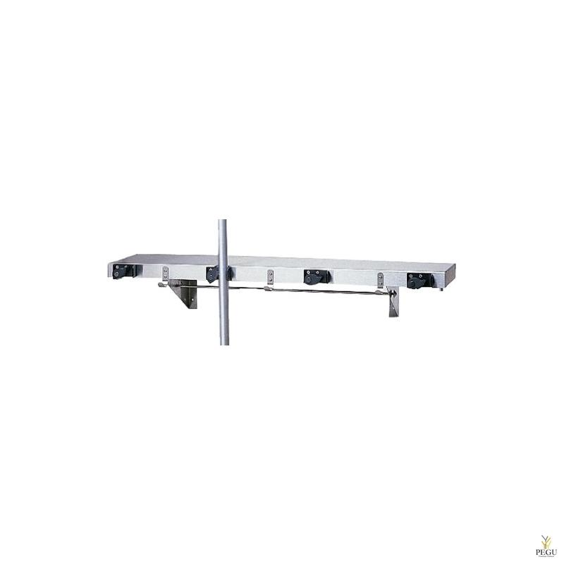 Полка + Настенный крепёж для инвентаря 4-й, Mop and Broom Holder Н/Р сталь AISI304