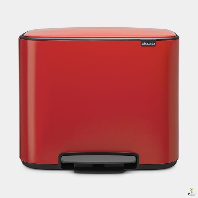 Pedaaliga sorteeriise prügikast, soft-close Brabantia BO, 3x11L passion Red