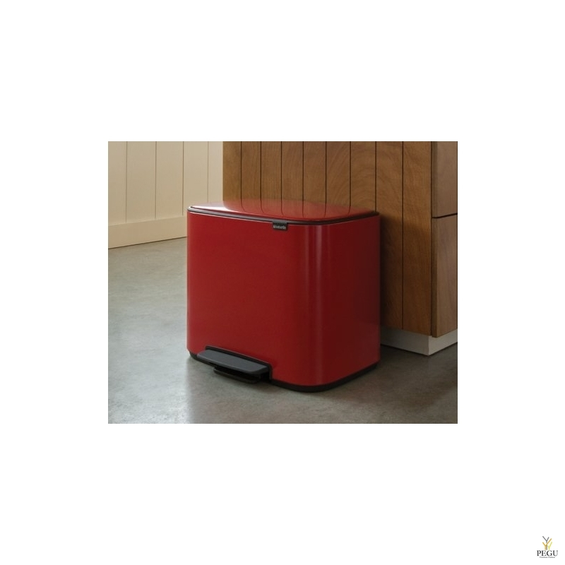 Pedaaliga prügikast, soft-close Brabantia BO, 36L passion Red
