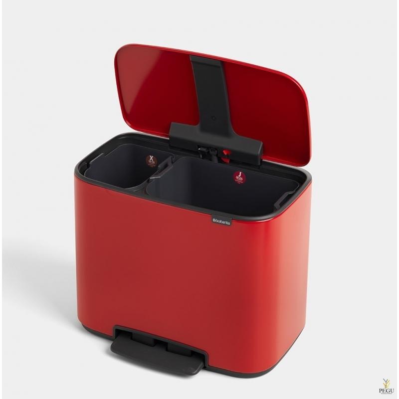 Урна для сортировки мусора с педалью, soft-close Brabantia BO, 11+23L passion Red
