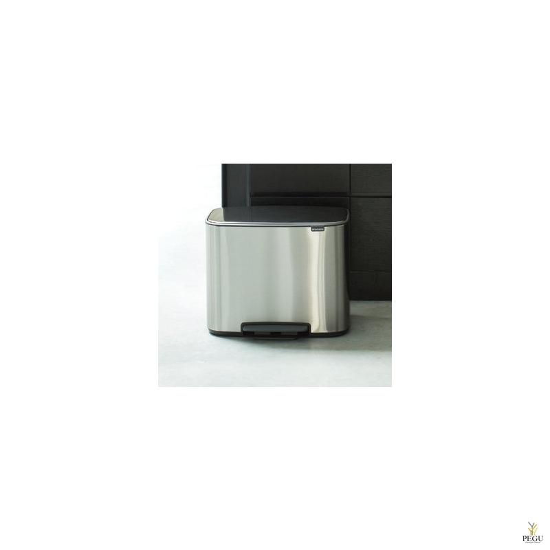 Урна для сортировки мусора с педалью, soft-close Brabantia BO, 11+23L Matt steel Fingerprint Proof