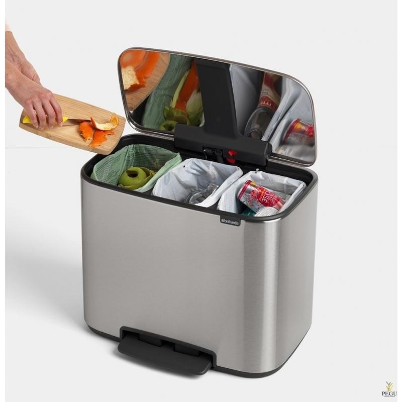 Урна для сортировки мусора с педалью, soft-close Brabantia BO, 3x11L Matt steel Fingerprint Proof