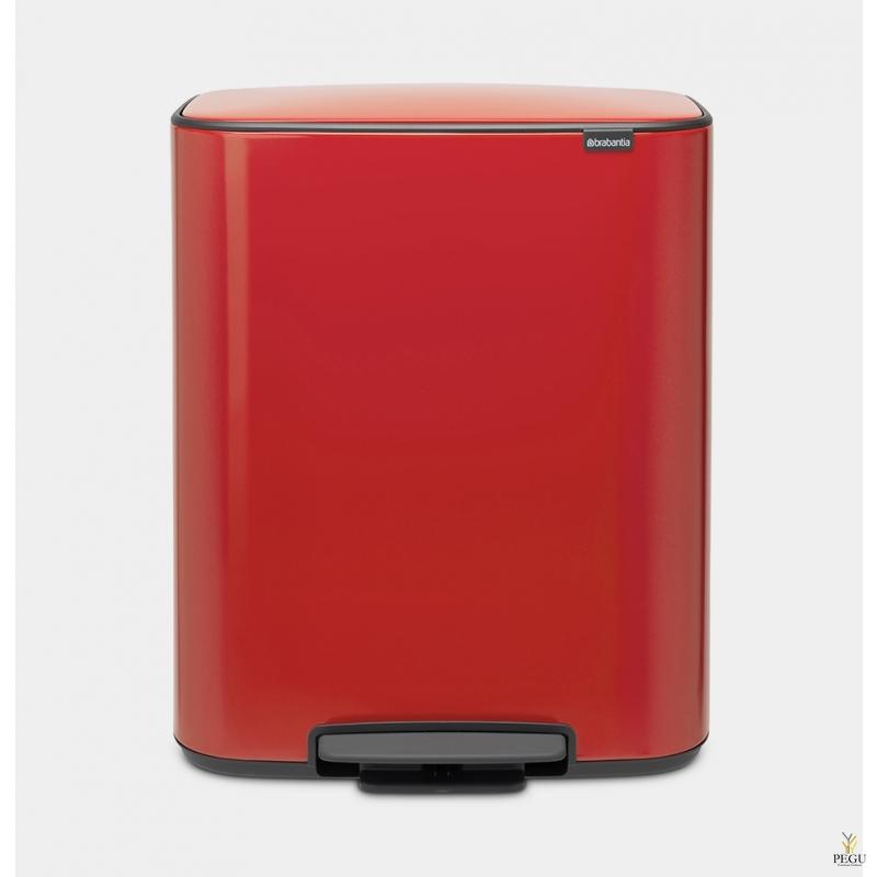 Pedaaliga prügikast, soft-close Brabantia BO, 60L Passion red
