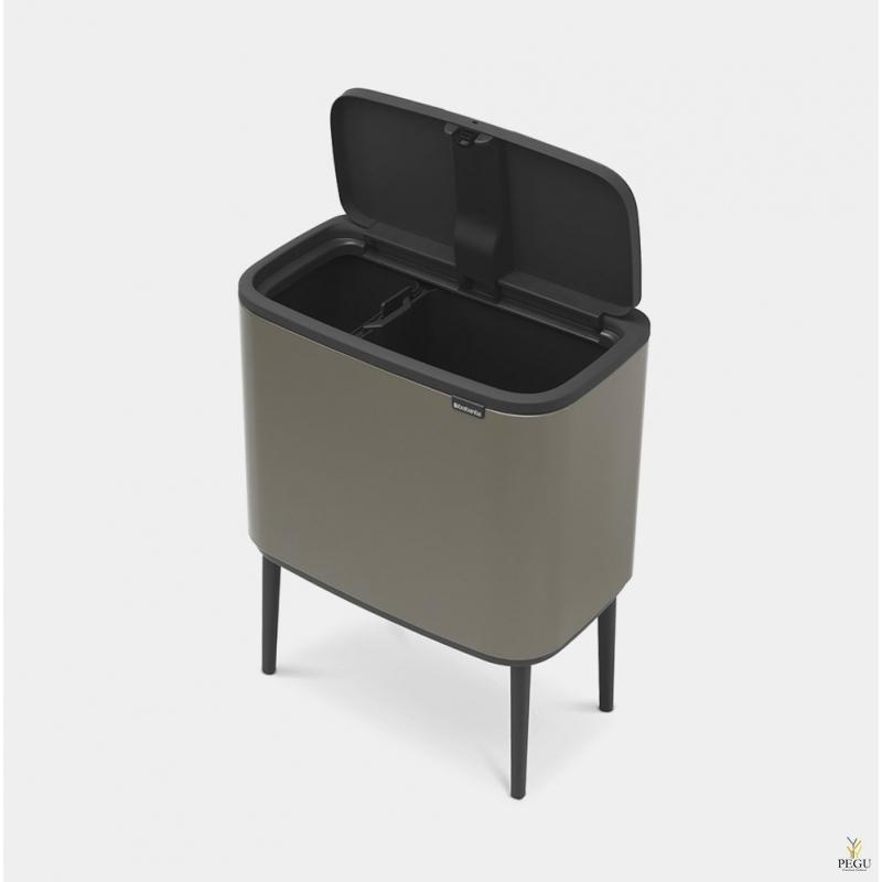 Touch bin мусорное ведро для сортировки отходов, soft-close Brabantia BO, 11+23L Platinum