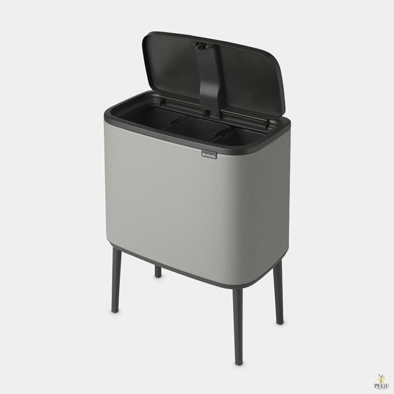 Touch bin ведро для сортировки мусора, soft-close Brabantia BO, 3x11L Matt Steel FPP, soft-close Brabantia BO, 3x11L Mineral Concrete Grey