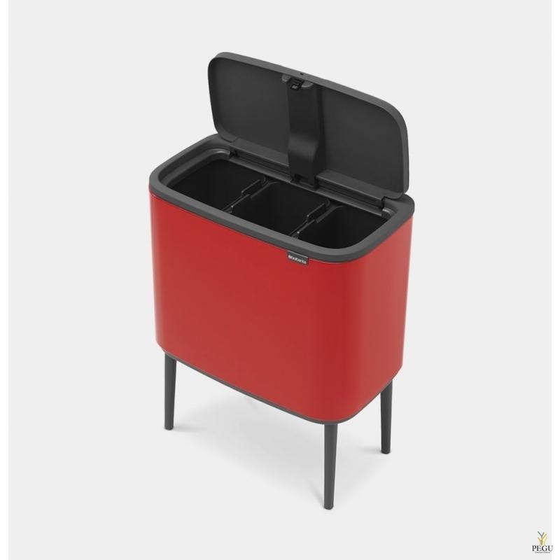 Touch bin sorteerimise prügikast, soft-close Brabantia BO, 3x11L Passion RED punane