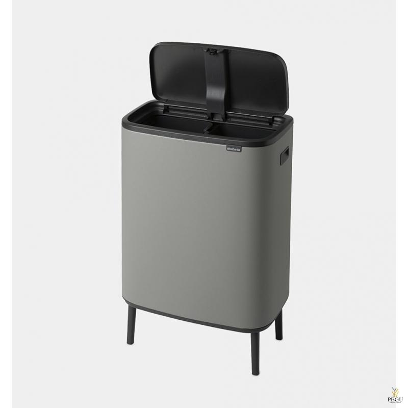 Touch bin kõrge prügikast, soft-close Brabantia BO, 2x30L Mineral Concrete Grey