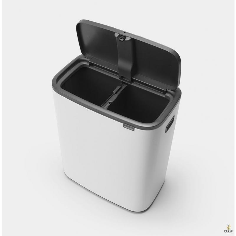Touch bin sorteerimise prügikast, soft-close Brabantia BO, 2x30L Valge