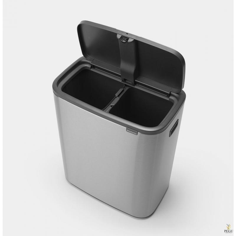 Touch bin prügikast, soft-close Brabantia BO, 2x30L Matt Steel Finferprint Proof