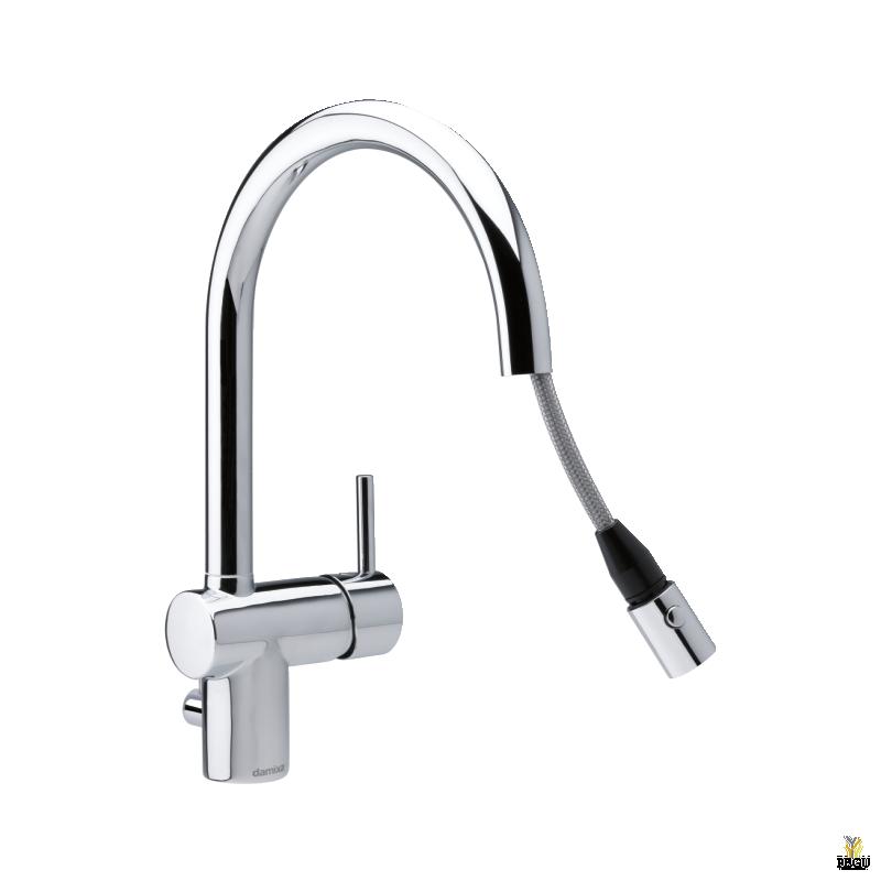Damixa Osier köögisegisti, pesumasina kraaniga, väljatõmmatava otsaga, kroom