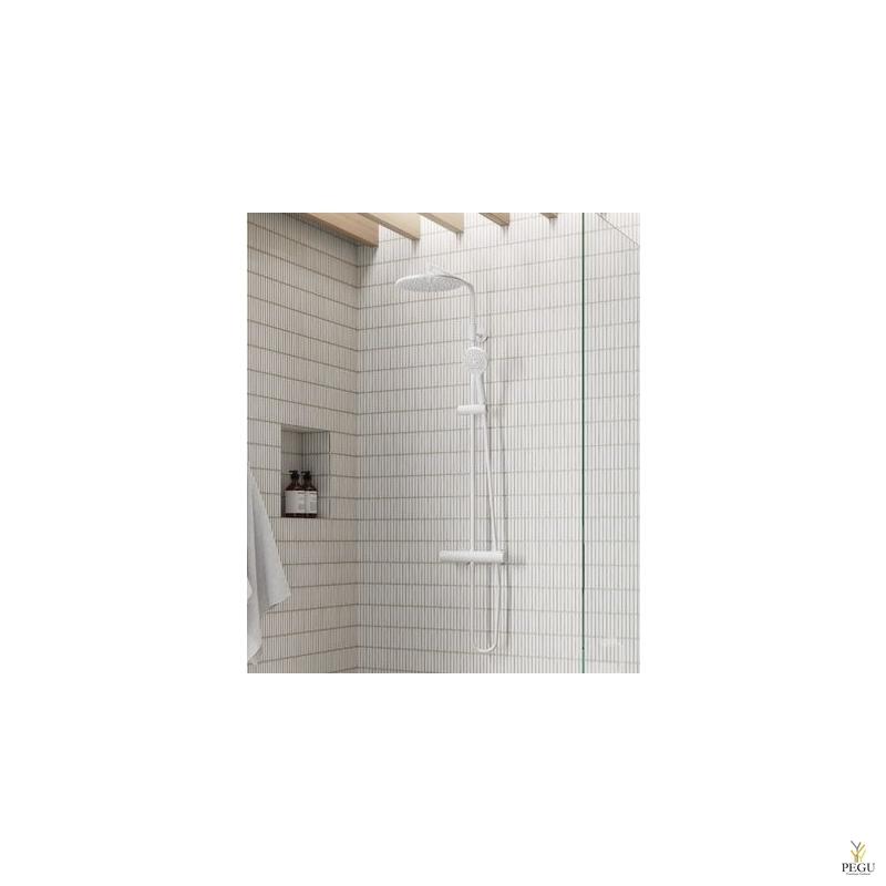 UUS! Damixa dušikomplekt Silhouet, termostaat+üladuš+käsiduš matt valge