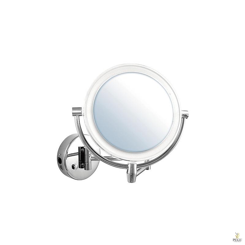 Kosmeetikapeegel seinale, 5X suurendus, kroomitud messing LED valgustusega. Lõpumüük!
