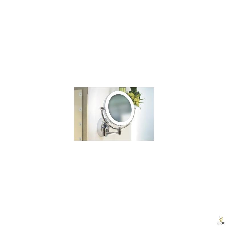 Косметическое зеркало настенное Sitia, 1-5X  увеличение, хром, LED подсветка. аккомулятор!