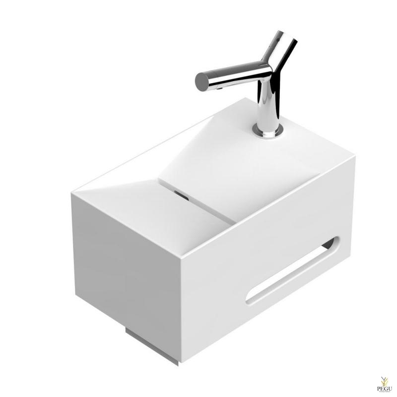 Valamu EUMAR Split 25L 400x250x205 CreaCore segisti auk paremal rätikuhoidjaga