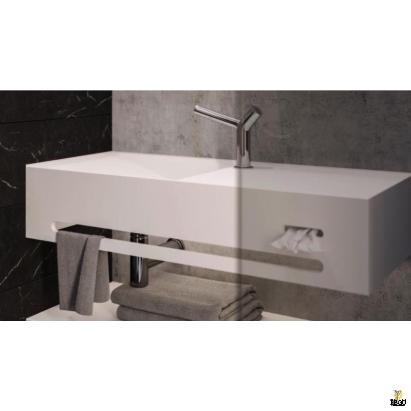 Valamu EUMAR Split 40L 1000x400x205 CreaCore отверстие для смесителя справа с прорезью для полотенца и Kleenex
