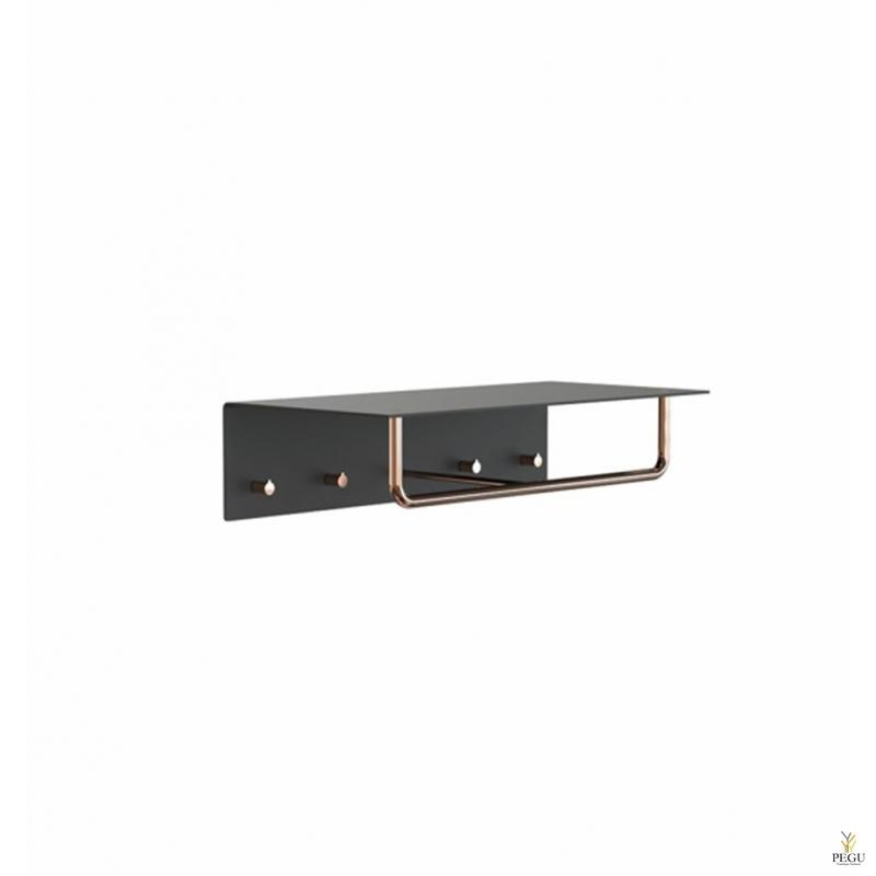 Garderoobiriiul UNU, nagid+riidepuu, 600mm, must-vask