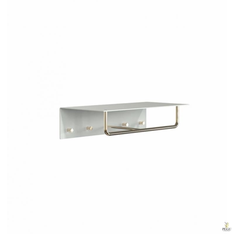 Garderoobiriiul UNU, nagid+riidepuu, 600mm,  valge-kuld