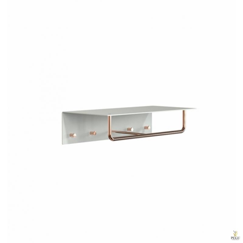 Полка для прихожей UNU, крючки+вешалка, 600mm, белая-медь