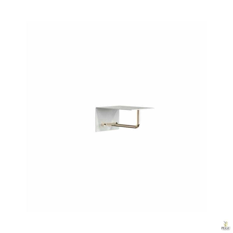 Полка для прихожей UNU, крючки+вешалка, 200mm, белая-золото