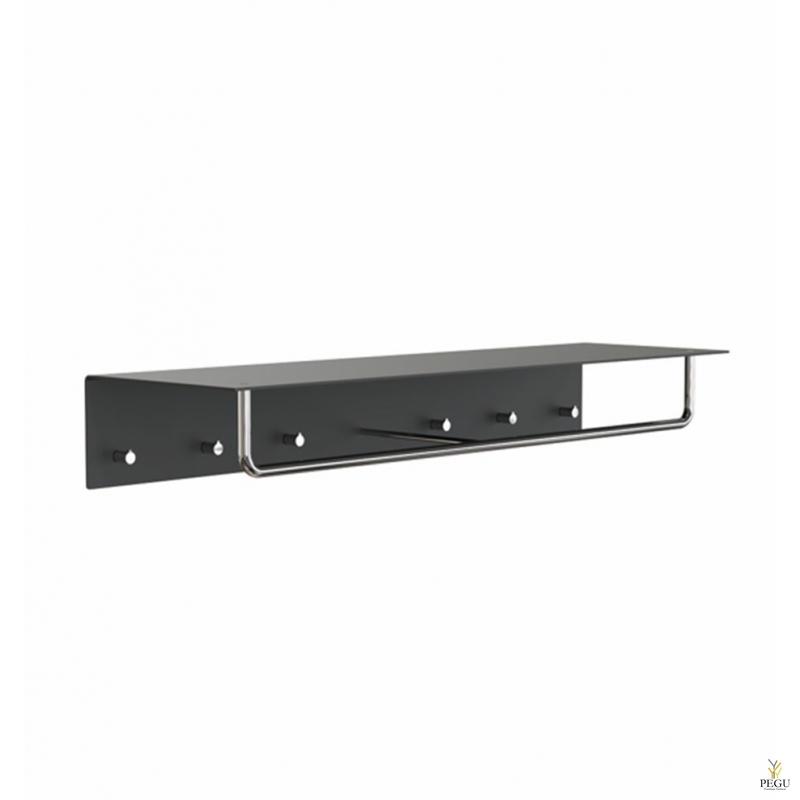 Garderoobiriiul UNU, nagid+riidepuu, 1000mm,  must-poleeritud