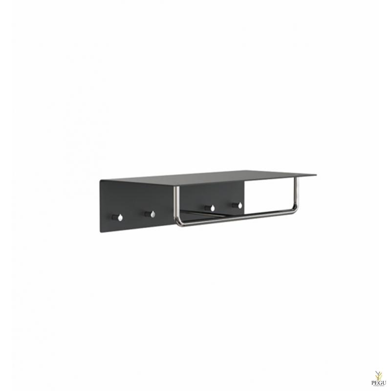 Garderoobiriiul UNU, nagid+riidepuu, 600mm, must-poleeritud