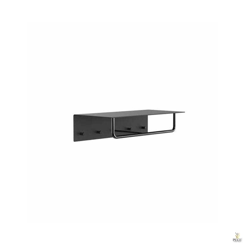 Garderoobiriiul UNU, nagid+riidepuu, 600mm,  must-must