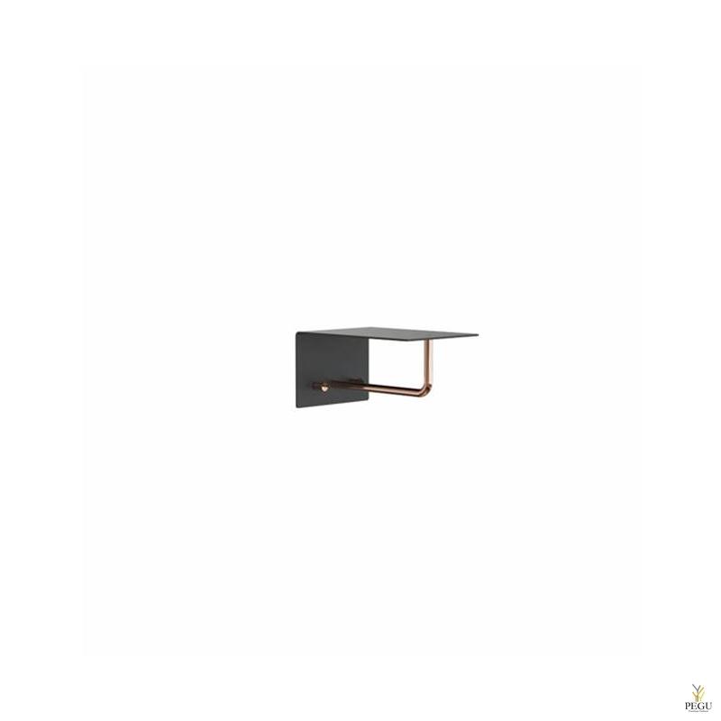 Полка для прихожей UNU, крючки+вешалка, 200mm, чёрная-медь