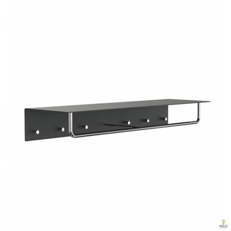 Полка для прихожей UNU, крючки+вешалка, 1000mm,  чёрная-полированная