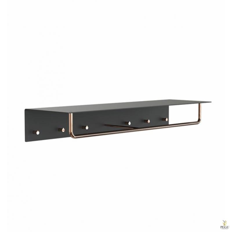Полка для прихожей UNU, крючки+вешалка, 1000mm, чёрный-медь