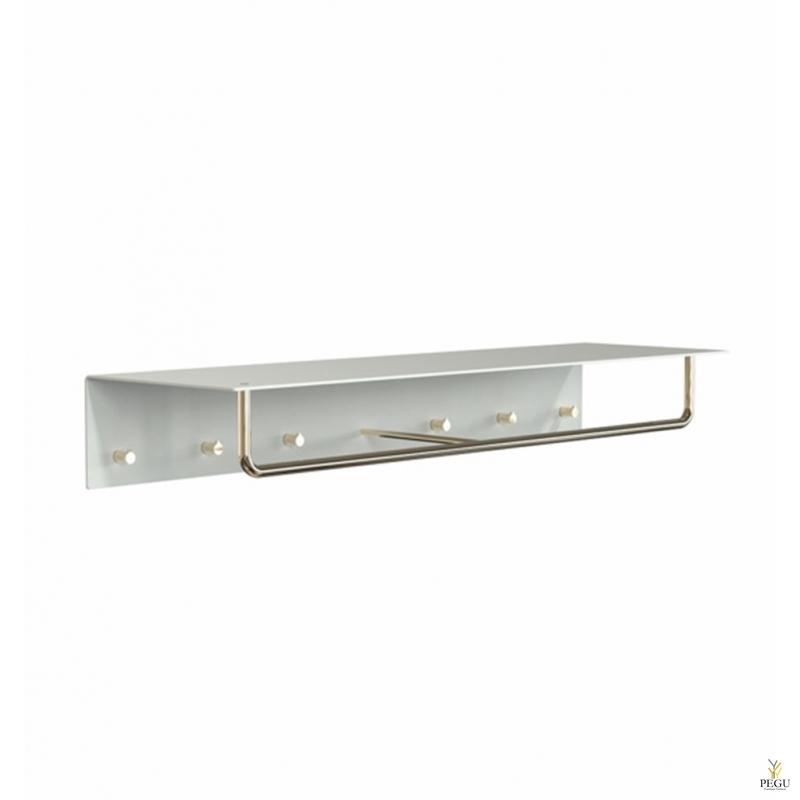 Полка для прихожей UNU, крючки+вешалка, 1000mm,  белая-золото