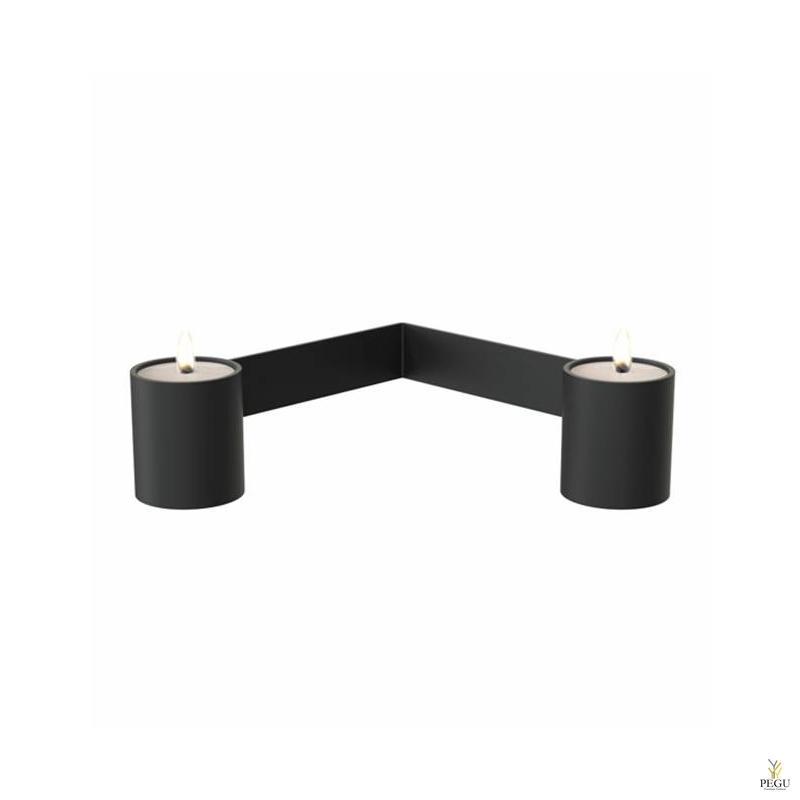 Чайный подсвечник 2-й d40xL141xH51mm,  чёрный