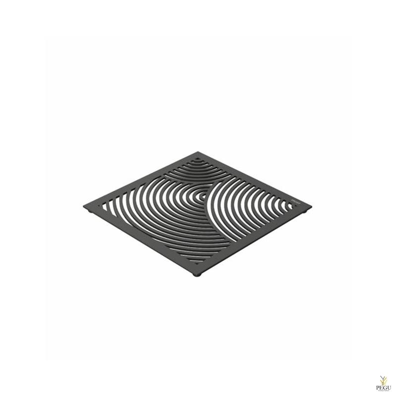 Подставка под горячее TRIVET1, 150x150mm радиальный рисунок, Н/Р сталь чёрная