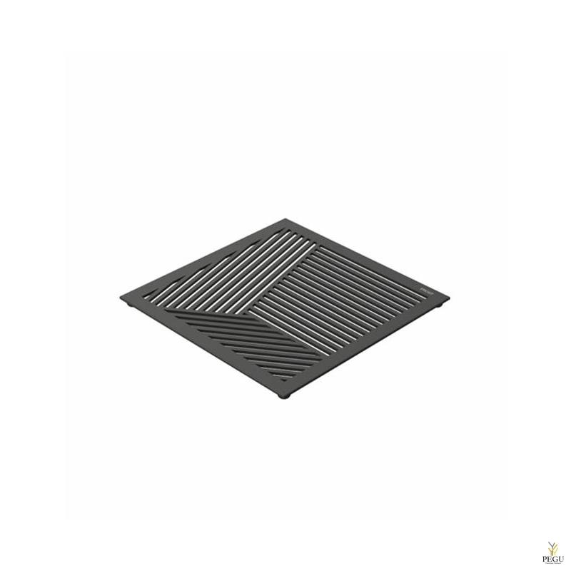 Kuumaalus TRIVET2, 150x150mm kandiline muster, R-V teras must