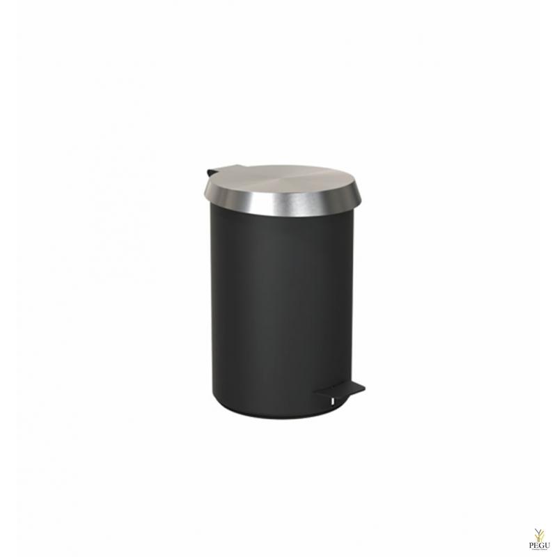 Урна с педолью средний размер FROST,  чёрная/сатин