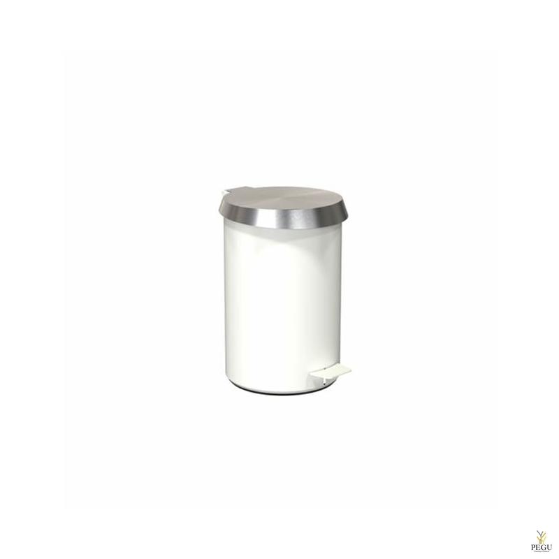 Урна с педолью средний размер FROST,  белая/сатин