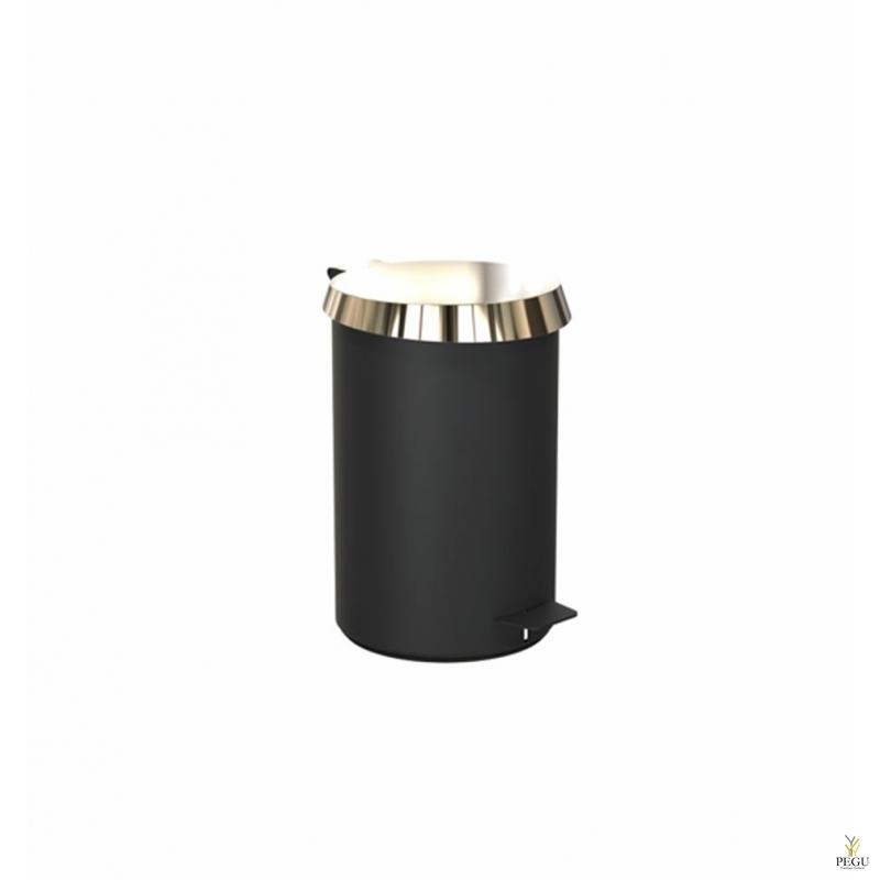 Урна с педолью средний размер FROST,  чёрная/золото