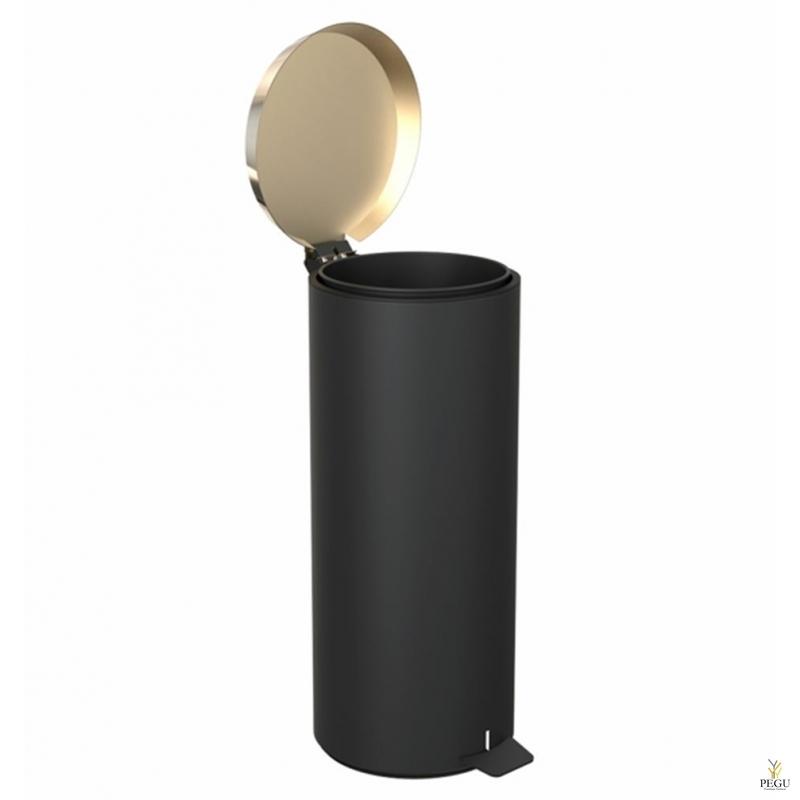 Prügikast pedaaliga suur FROST,  must/kuld