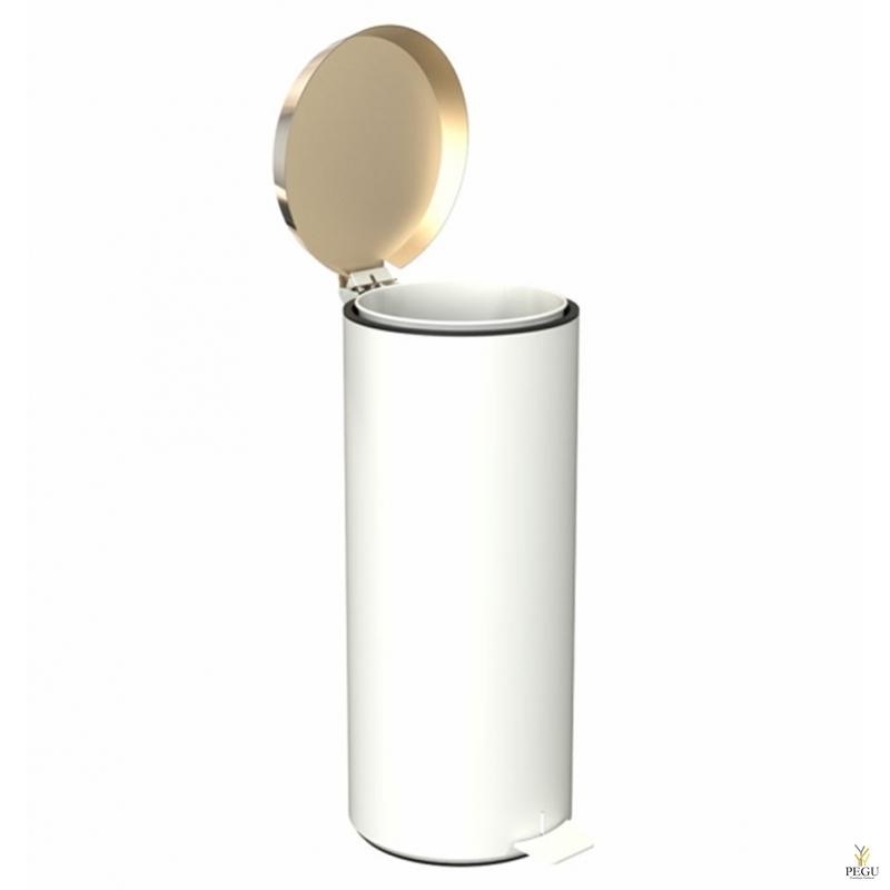 Prügikast pedaaliga suur FROST,  valge/kuld
