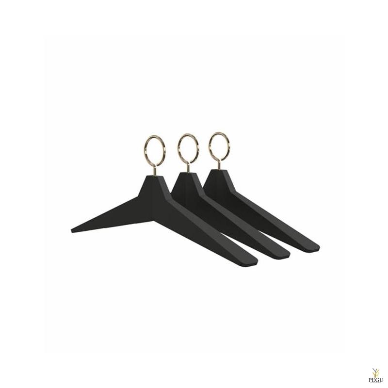 Вешалка FROST, чёрная прорезиненная UNU Hanger 8. золото (3 комплекта)