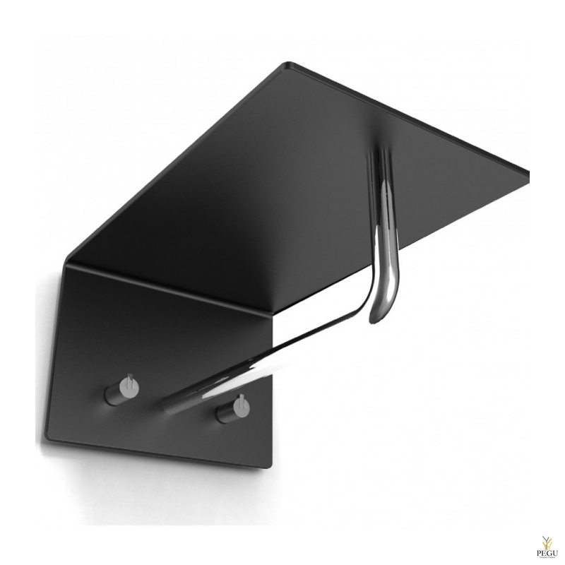 Полка для прихожей UNU, крючки+вешалка, 200mm, чёрная-полированная