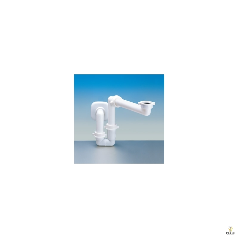 Splazio B сифон для раковины, 30-40mm в стену, белый.