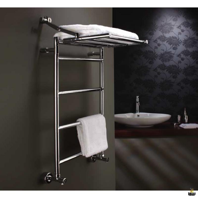Полотенцесушитель лестница с полкой водяной Margaroli Sereno 483/L хром латунь 800x1127 mm