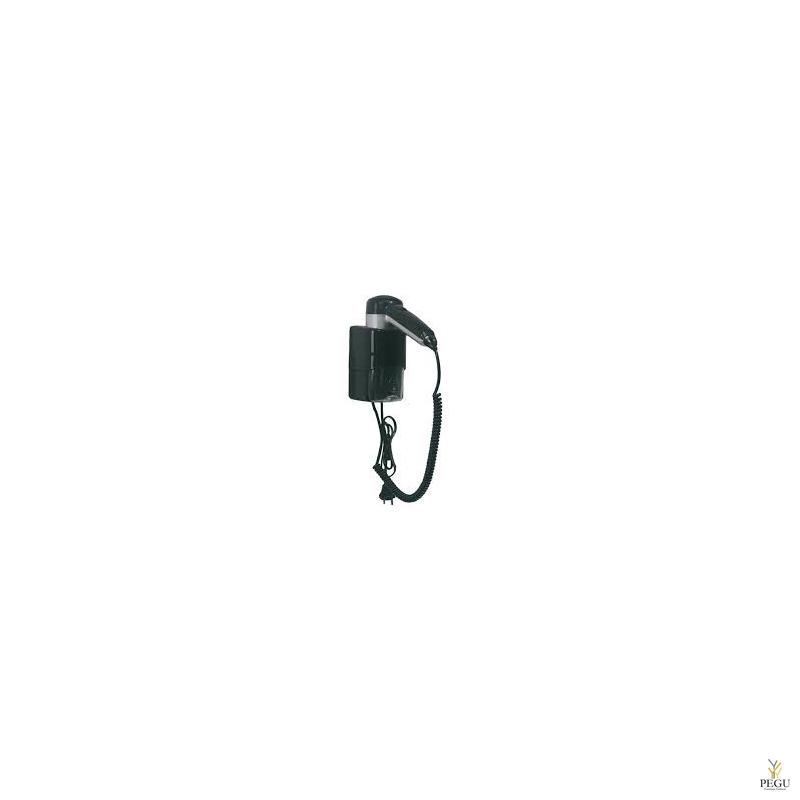 Настенный фен чёрный/серебристый 1240 W, с розеткой для бритвы со штекером