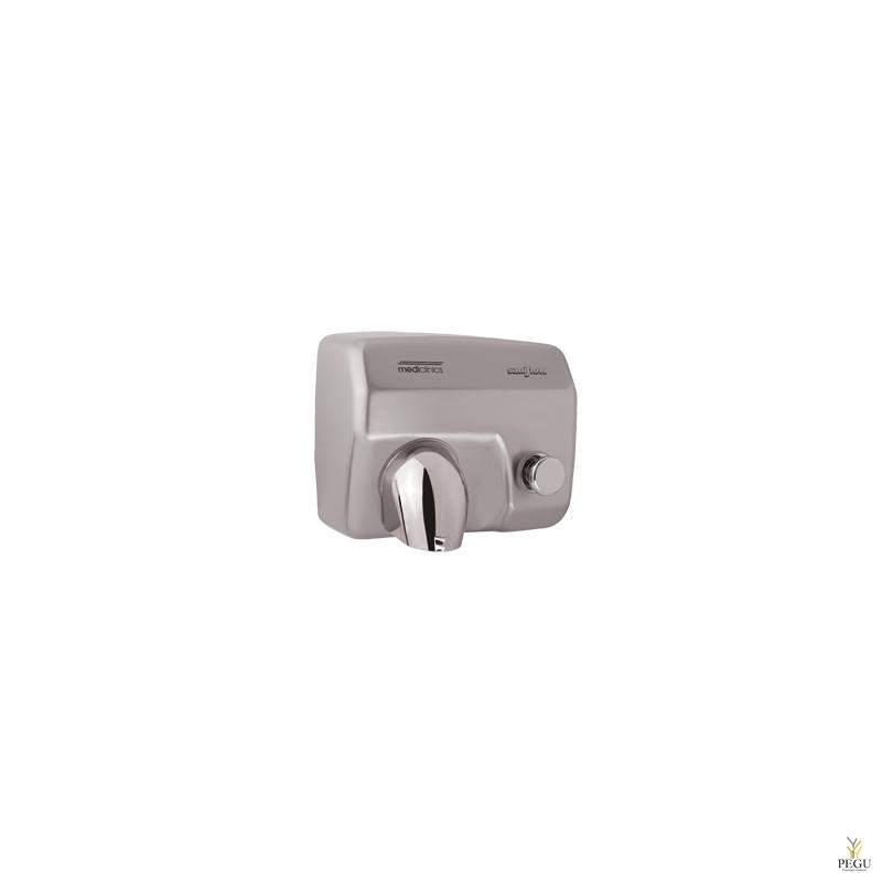 Рукосушитель Mediclinics Saniflow с кнопкой 29 sek , Н/Р сталь матовый