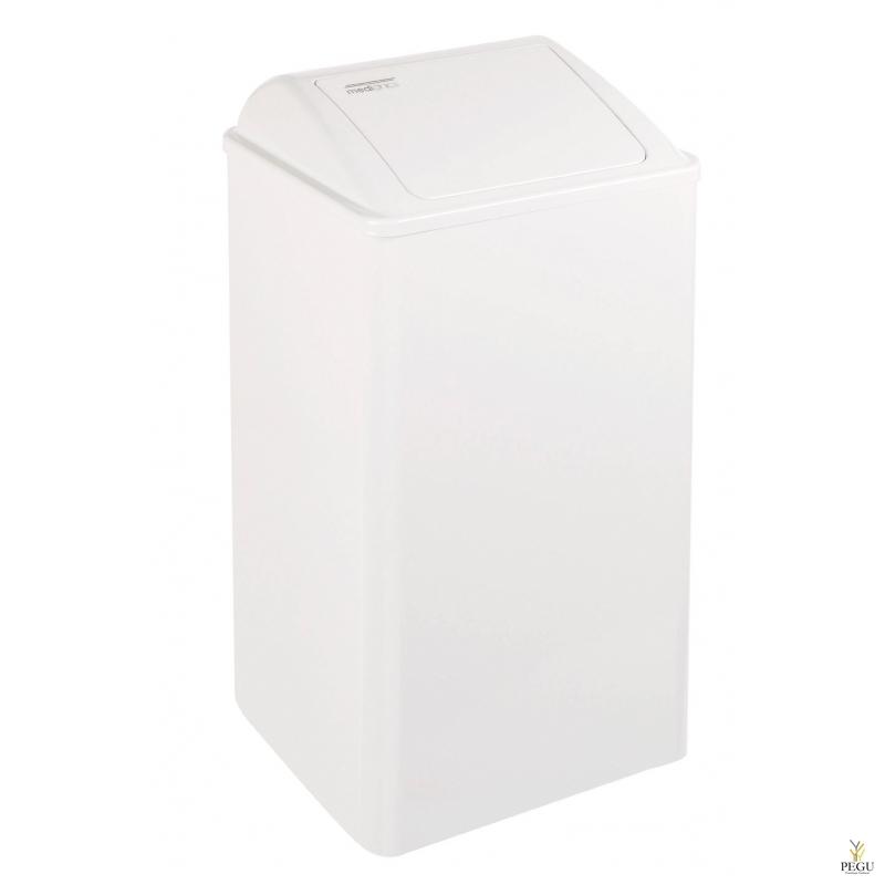 Prügikast 65L, teras isesulgev kaas, valge
