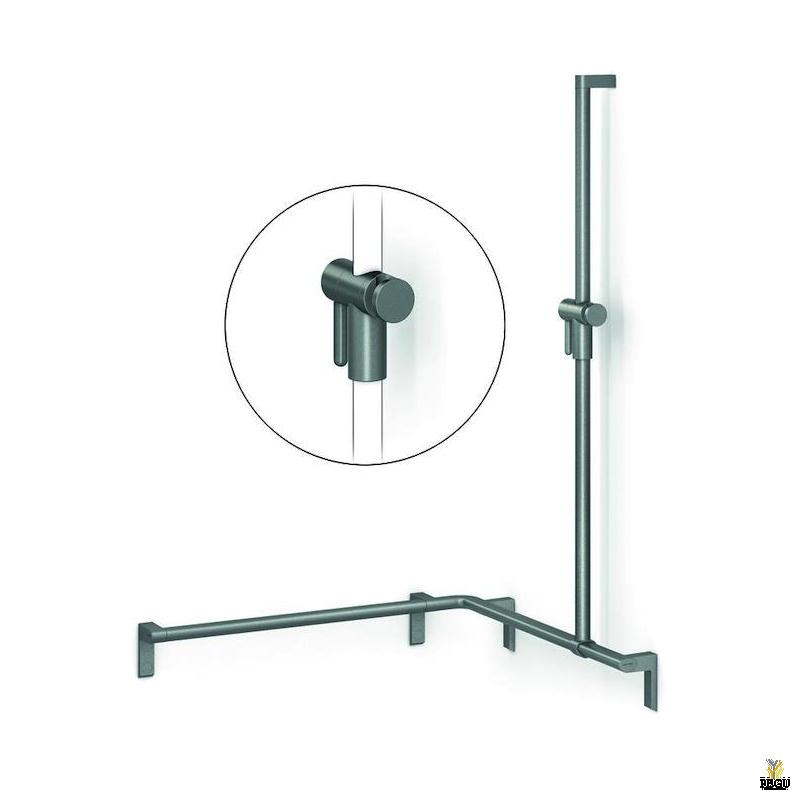 Инвалидная ручка с душевым лифтом. Normbau CAVERE.  750x750x1100mm, левая Carbon чёрная 091