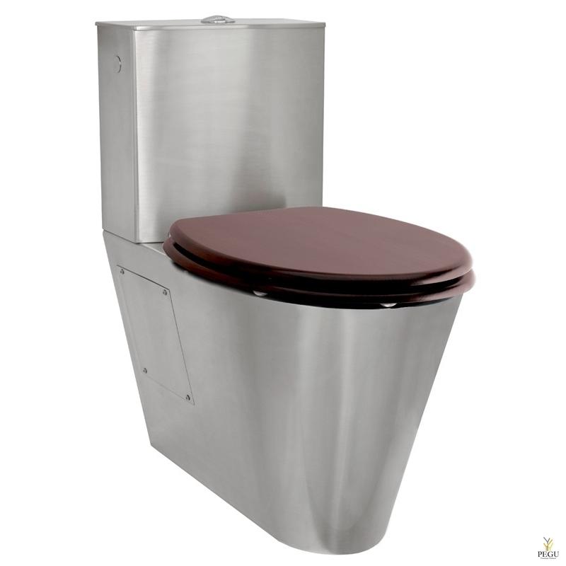 Porinox WC pott roostevabast terasest, loputuskastiga, 2 süsteemne + iste mahagon
