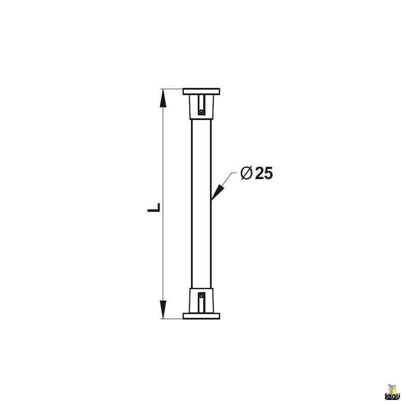 Душевая палка для шторки,  алюминий, белая. 120-220 cm