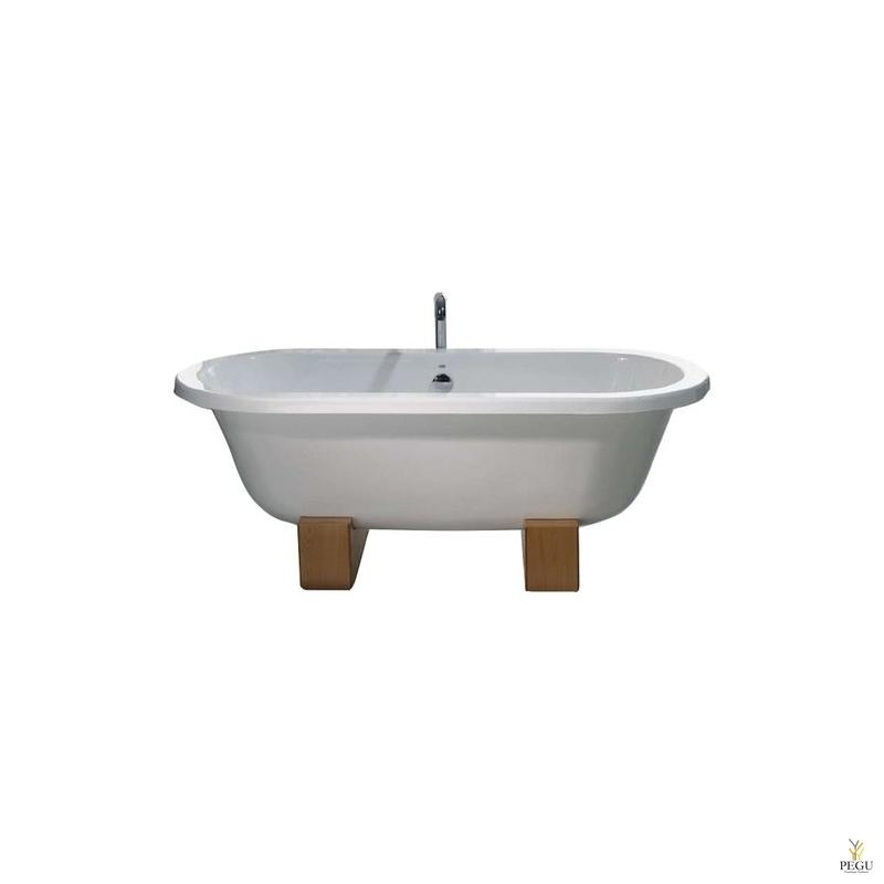 Чугунная ванна RECOR Denise, 180 x 80, белое внешнее покрытие, ножки натуралиный натуральный бук