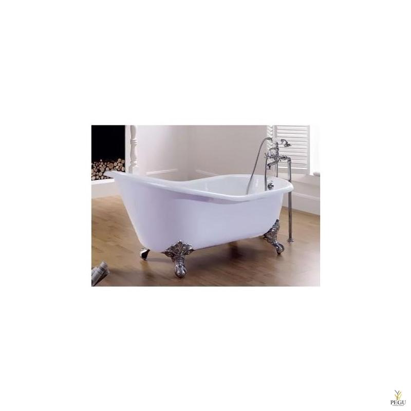 Чугунная ванна RECOR Slipper, 170 x 76,  Белое внешнее покрытие,  ножки IMPERIAL латунь хром